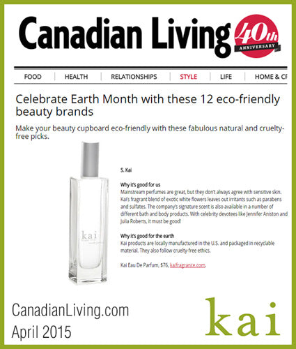 kai fragrance featured in canadianliving.com april 2015