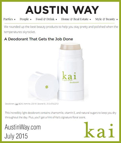 kai fragrance featured in austinway.com july 2015