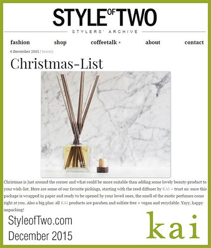 kai fragrance featured in styleoftwo.com december 2015