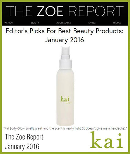 kai fragrance featured in the zoe report january 2016