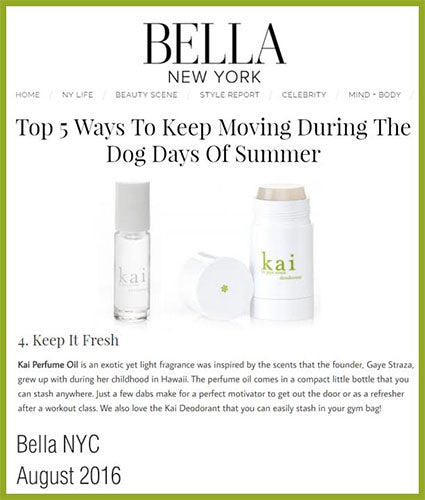 kai fragrance featured in bellanyc.com august 2016