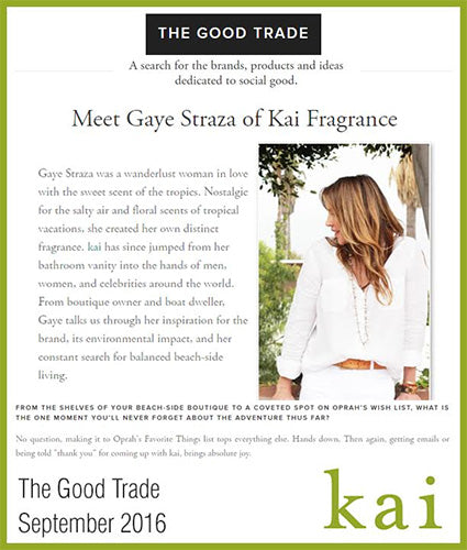 kai fragrance featured in the good trade september 2016