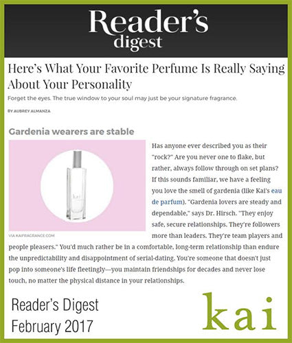 kai fragrance featured in reader's digest february 2017