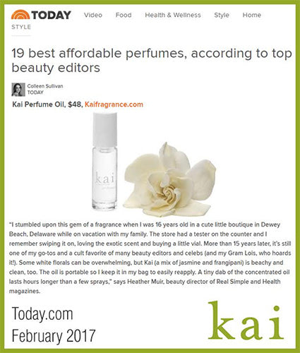 kai fragrance featured in today.com february 2017
