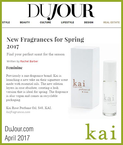 kai fragrance featured in dujour.com april 2017
