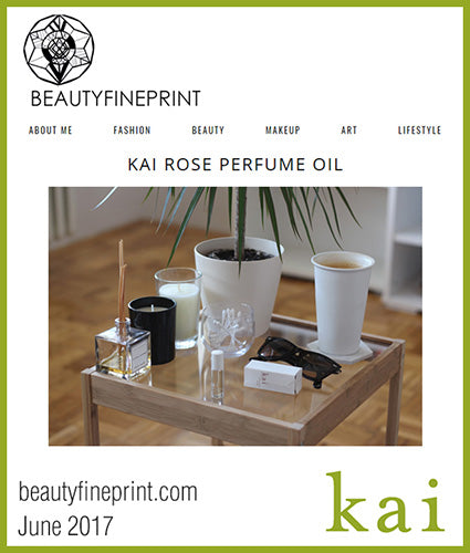 kai fragrance featured in beautyfineprint.com june 2017
