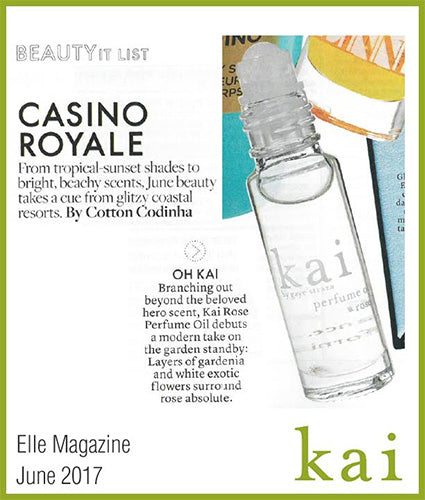 kai fragrance featured in elle magazine june 2017