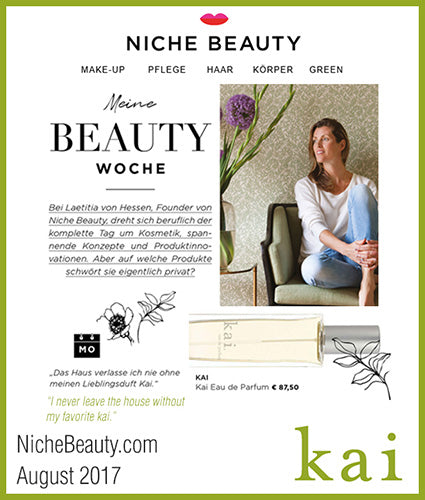 kai fragrance featured in nichebeauty.com august 2017