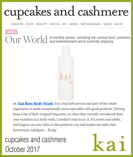 kai fragrance featured in cupcakes and cashmere october 2017