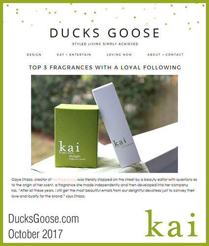 kai fragrance featured in ducksgoose.com october 2017