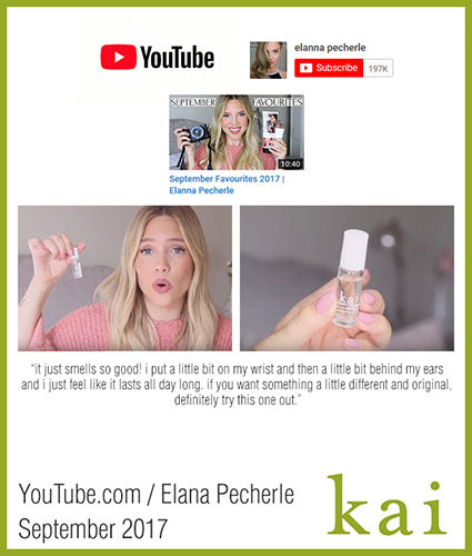 kai fragrance featured in youtube.com/elannaperchele october 2017