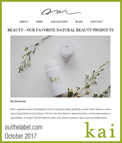 kai fragrance featured in ouithelabel.com october 2017