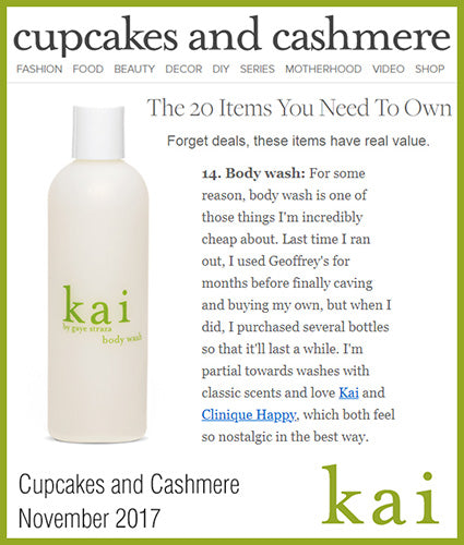 kai fragrance featured in cupcakesandcashmere.com november 2017