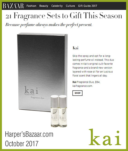 kai fragrance featured in harpersbazaar.com november 2017