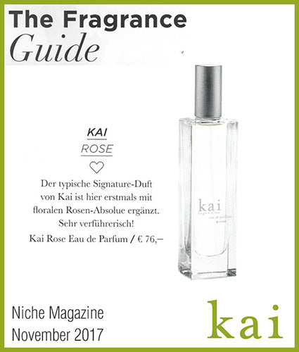 kai fragrance featured in niche beauty magazine november 2017