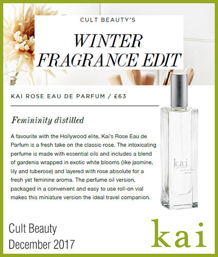 kai fragrance featured in cult beauty december 2017