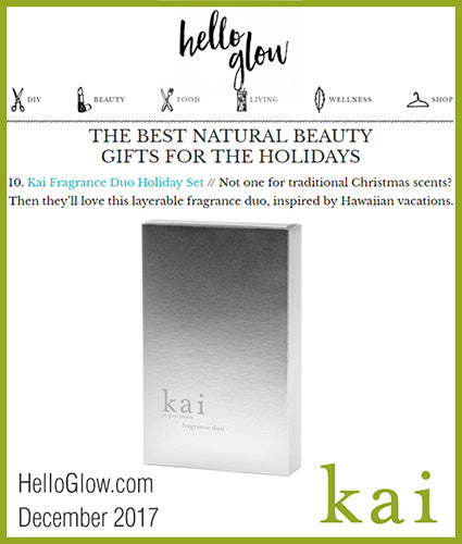 kai fragrance featured in helloglow.com december 2017