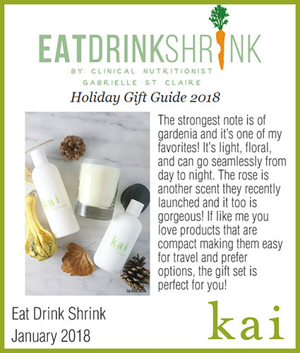 kai fragrance featured in eat drink shrink january 2018