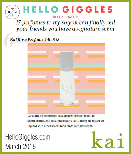 kai fragrance featured in hellogiggles.com march 2018