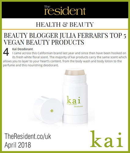 kai fragrance featured in theresident.co/uk april 2018