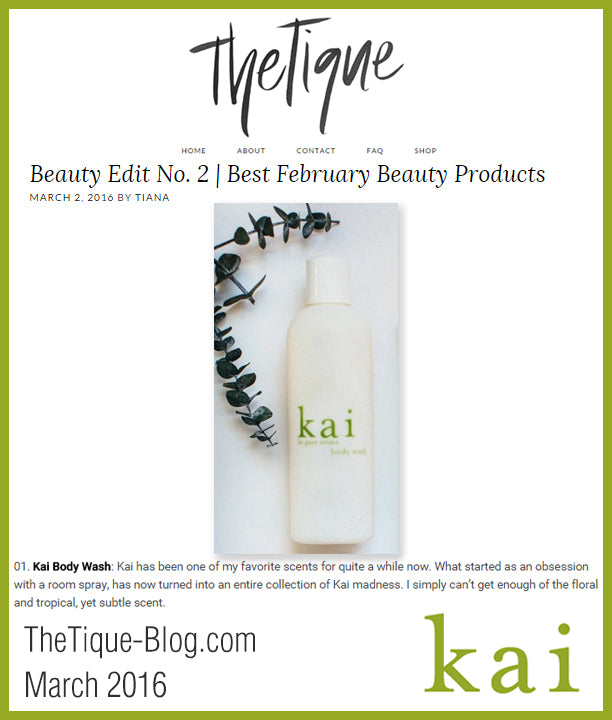 kai fragrance featured in the tique march 2016