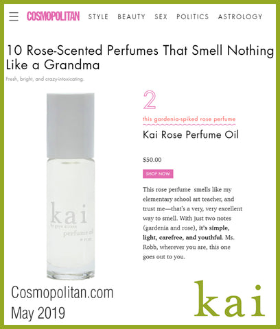 kai rose perfume oil - cosmopolitan - may 2019