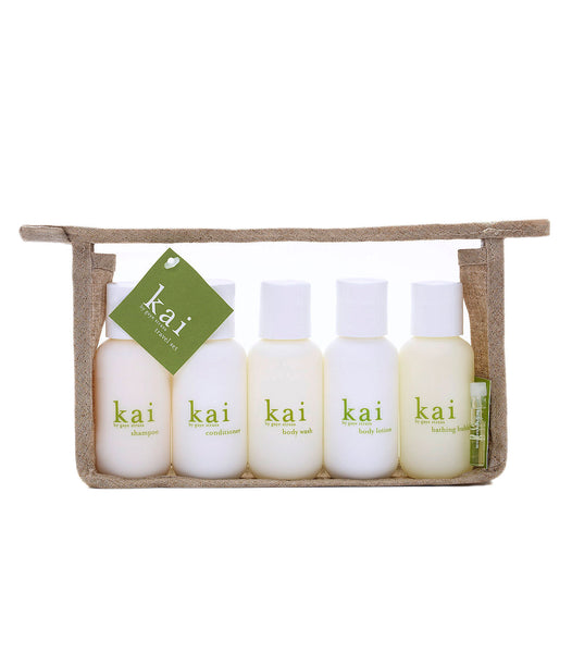 kai travel set - body lotion, bath wash, shampoo, conditioner