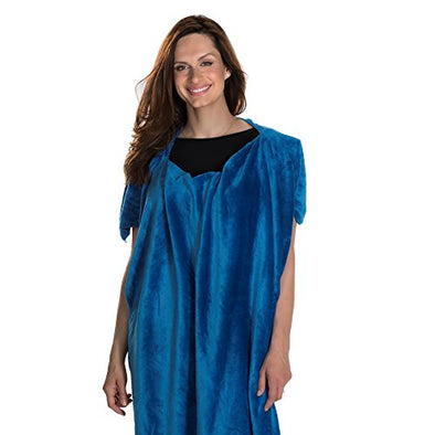 Poncho Travel Blanket Best Travel Blanket Faux Fur Flannel in Blue