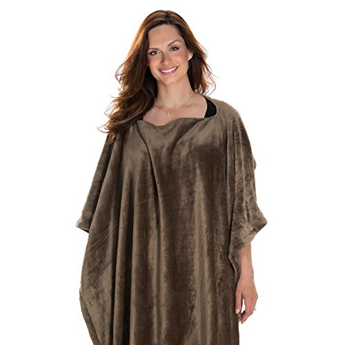 Poncho Throw Blanket Faux Fur Flannel Sofa Blanket in Taupe