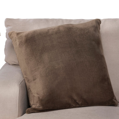 Memory Foam Throw Pillow as Sofa Decorative Faux Fur Flannel Couch Pillow in Taupe
