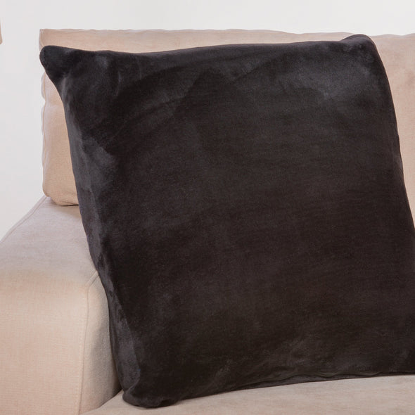 Memory Foam Throw Pillow as Sofa Decorative Faux Fur Flannel Couch Pillow in Black