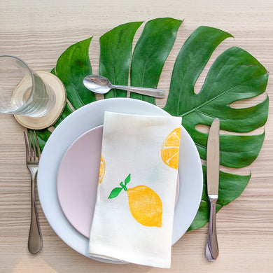 Serviette de table en lin - Imprimée de citrons