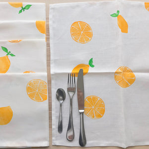 4 serviettes de table en lin - Imprimées de citrons