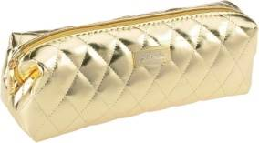 Gold Quilted Cosmetic Bag