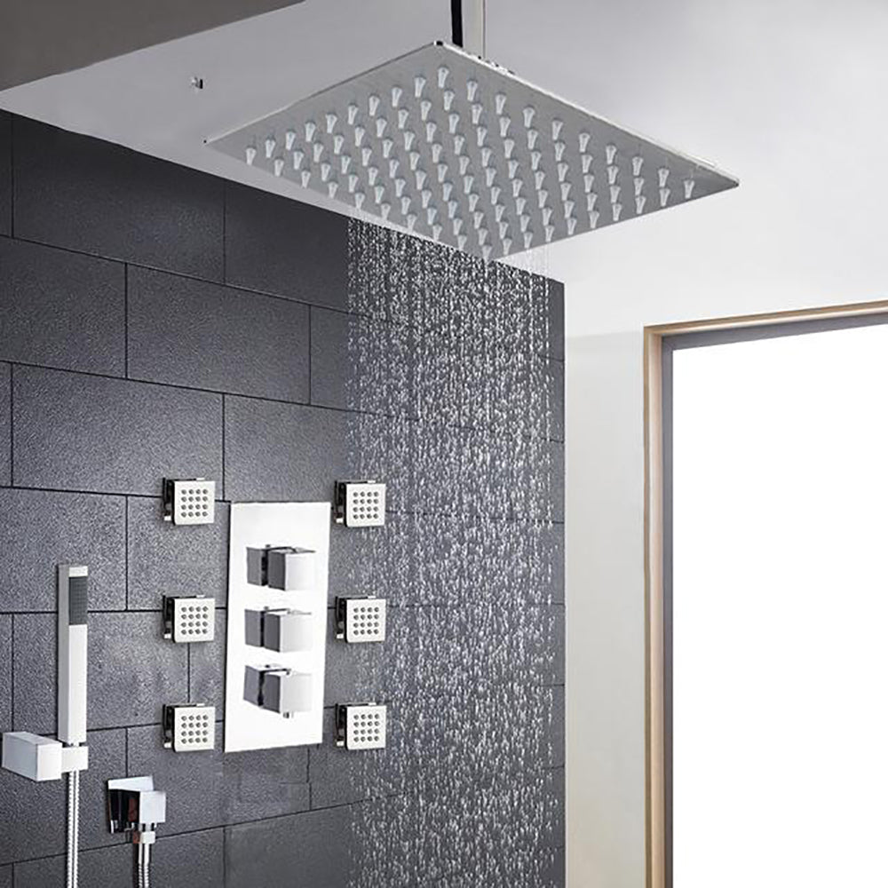 Chrome Square Design 3 Way Thermostatic Shower With 6 Body Jet Massage Sprayer Jets Completed Set