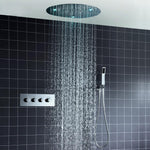 20 '' Round Rain with Light Concealed Embedded in Wall Thermostatic Shower SPA Water Column 2mm Ultra-Thin Shower Set