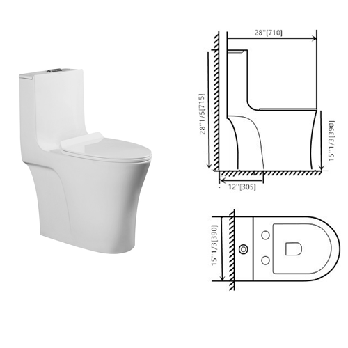 One piece dual flush toilet Sani 932