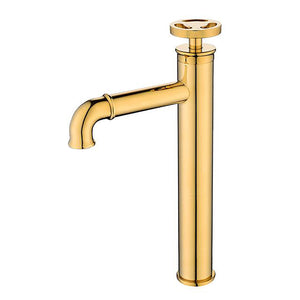 Polished Gold- Matte Black Tall Vessel Faucet With Round Wheel Handle  WB1098