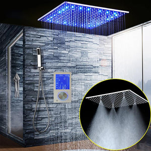 LED 20 Inch Ceiling Mount Rain and Mist Shower Head 2 Way Mixer Valve LCD Display Thermostatic Shower Kit
