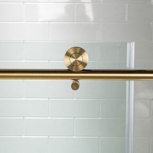 "Brushed Gold Frameless Slide Shower Glass Door 10mm Size 60"" x 76"""
