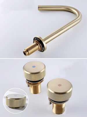 Brushed Gold- Matte Black 8 Inch Wide Spread Bathroom Faucet