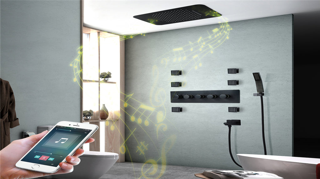 "BLACK MATTE SMART WIFI BLUETOOTH SHOWER SYSTEM FLUSHMOUNT CEILING WATERFALL MIST RAIN HEAD SIZE 23""X15"" THERMSOTATIC /PRESSURE BALANCE WITH 6 WAY FUNCTION DIVERTER CONTROL AND HAND HELS SPRA AND 6 JET MASSAGE SPRAYERS COMPLETED KIT"