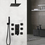 Black Square Ceiling Mount LED Temperature Thermostatic Control With 6 Body Jet Massage Sprayers Completed Shower Kit