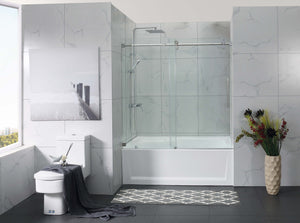 "Bathtub frame less sliding shower tempered glass door 10mm size 60"" X 60"" Inches"