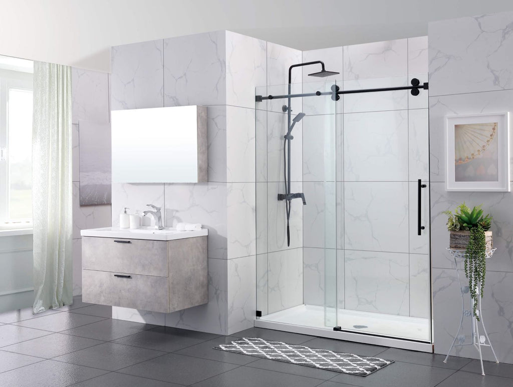 "48"" X 76"" Frameless Slide Shower Glass Door Slow Close Black"