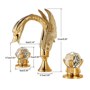 Gold Swan 8 Inch Wide Spread Lavatory Faucet With Crystal Handles
