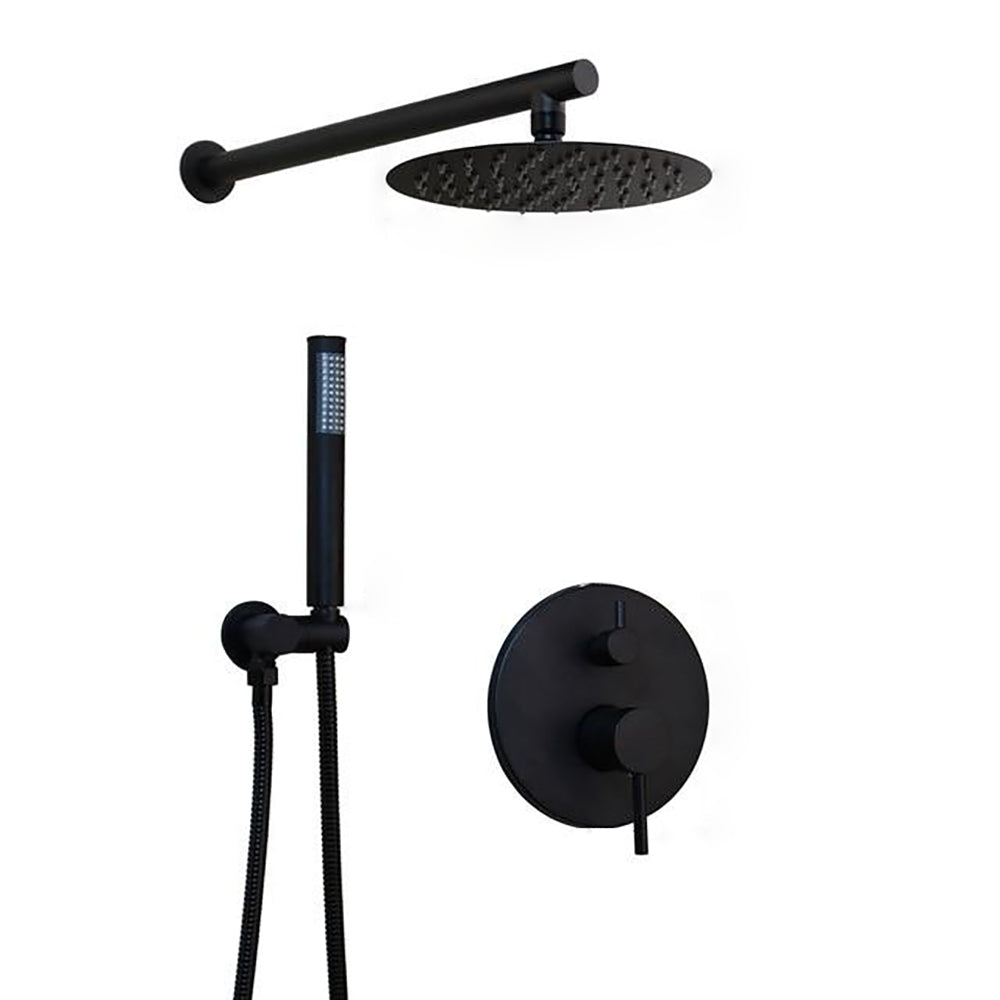 Black 2 Way Pressure balance Shower Set with Option Of Round Rain Head 8-10-12 Completed Shower Set