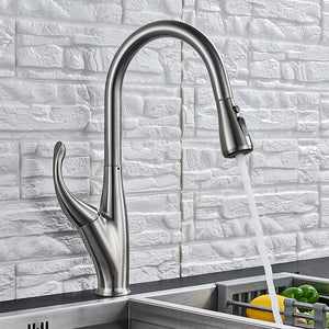 Manual Chrome/Black/Brushed Pull Out Kitchen Faucet Goose Neck Dual Pull Out Function