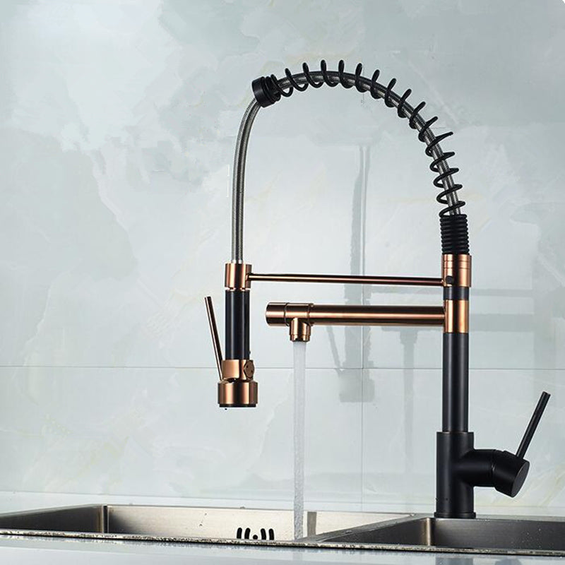 Black with Rose Gold Spring Pull Down Kitchen Faucet Dual Spouts 360 Rotation Single Handle