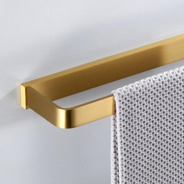 Bathroom Hardware Set Towel Rack Paper Holder Towel Bar Corner Shelf - Brush holder Brushed Gold  Bathroom Accessories Set ( Sold Separately)